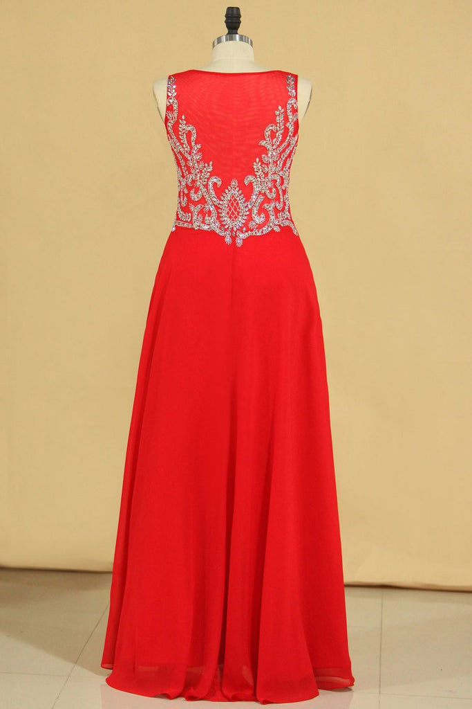 2019 Red Plus Size V Neck Beaded Bodice Chiffon & Tulle A Line Prom Dresses