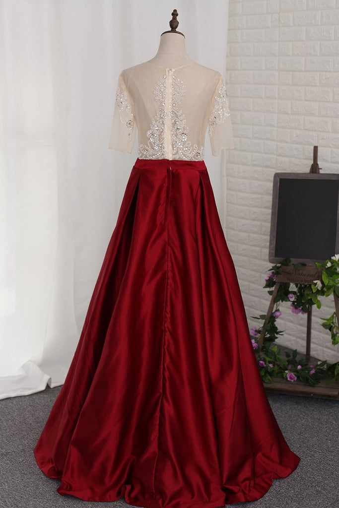 2019 A Line Prom Dresses Scoop Beaded Bodice Short Sleeves Satin