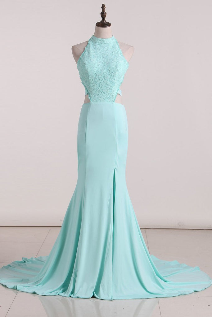 2019 Sexy Open Back Scoop Prom Dresses Spandex  With Applique Mermaid