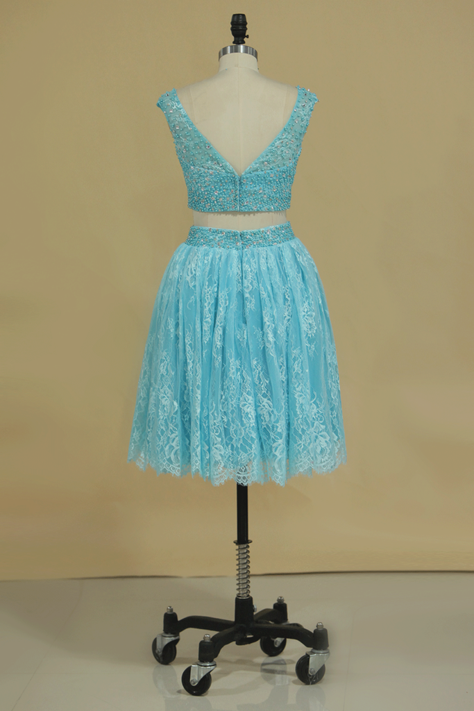 Homecoming Dresses Bateau Lace Two-Piece With Beading Short/Mini