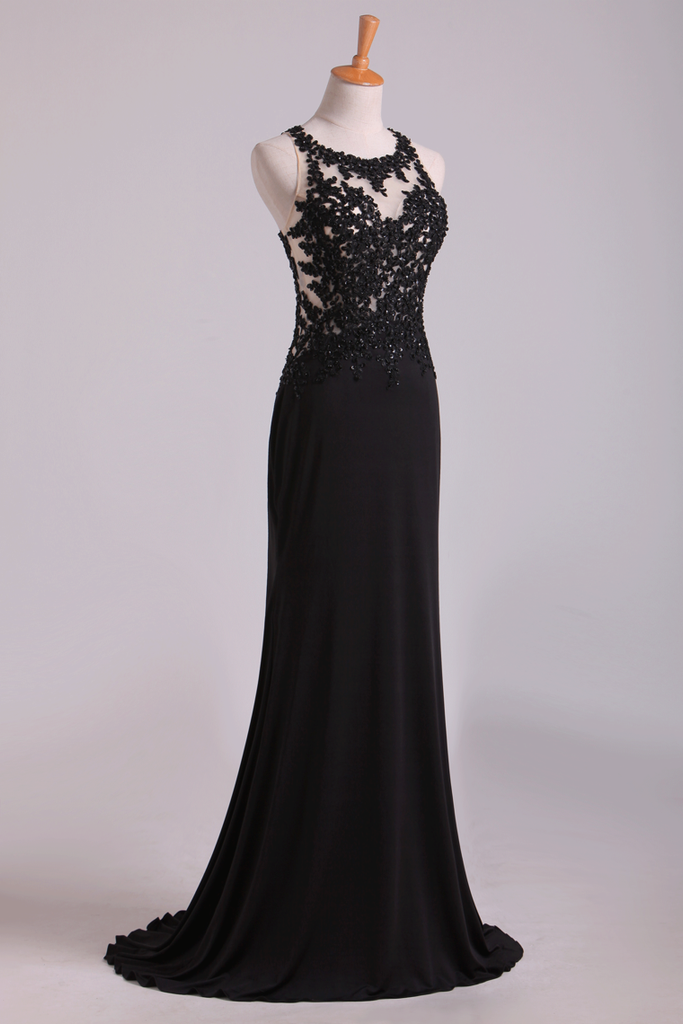 2019 Popular Black Scoop Sheath/Column Prom Dresses With Beading And Applique