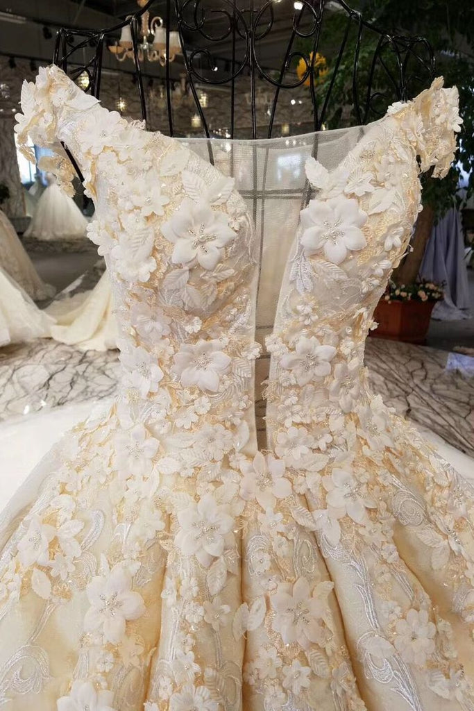 2019 Champagne Wedding Gown Off The Shoulder Satin And Lace Royal Train