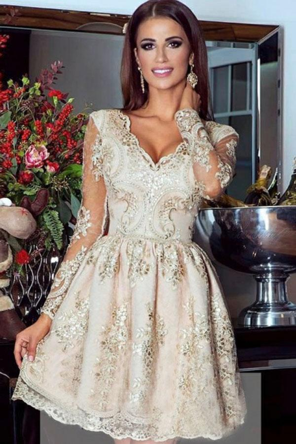 Cute A-Line V Neck Short Tulle Lace Appliques Long Sleeves Homecoming Dresses WK718