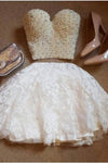 A-Line Two Pieces Sweetheart Short White Lace Knee Length Homecoming Dress with Pearls WK704