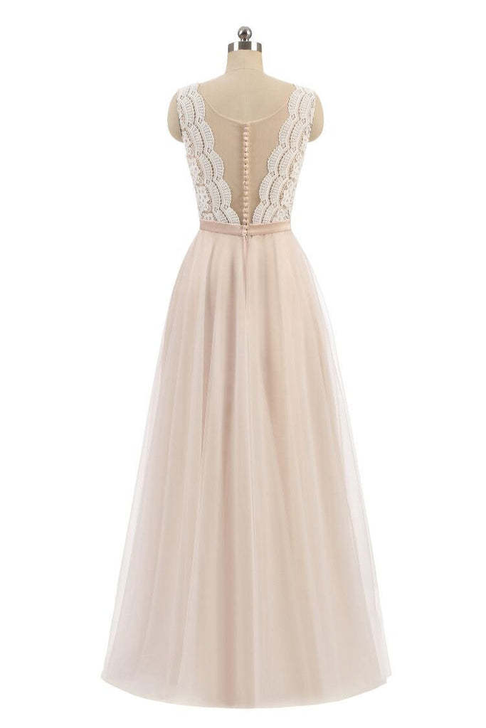 Elegant A Line Pink Tulle Lace High Neck Sleeveless Button Prom Evening Dresses WK598