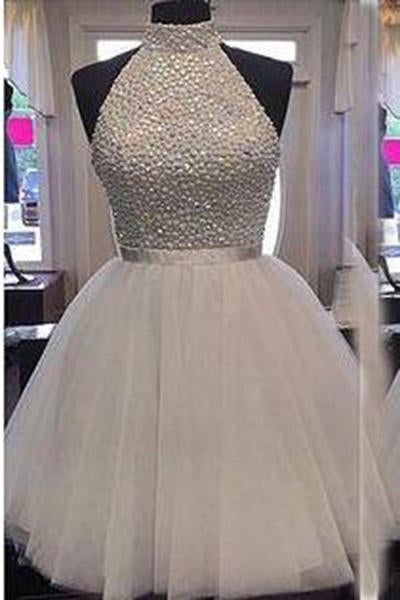 2020 Chic Halter Sexy Open Back White Beading Sleeveless Short Tulle Homecoming Dress WK258