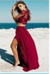 Burgundy Sexy Slit Two-piece Cheap Cap Sleeve Lace Scoop A-Line Prom Dresses WK868