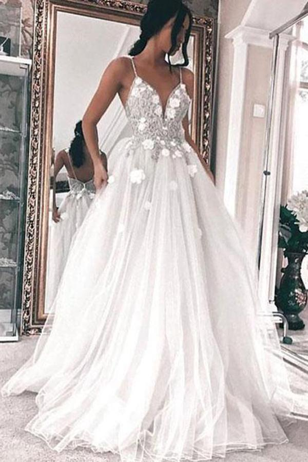 A Line V Neck Tulle Long Ivory Spaghetti Straps Lace Appliques Cheap Prom Dresses WK809