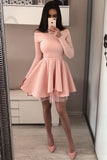 A Line Long Sleeve Blush Pink Off the Shoulder Satin Short Homecoming Dresses WK996