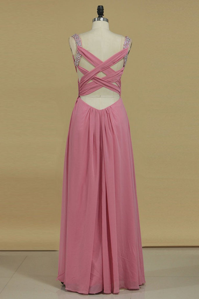 2019 Cross Back Straps A Line Prom Dresses With Beads Chiffon Floor Length