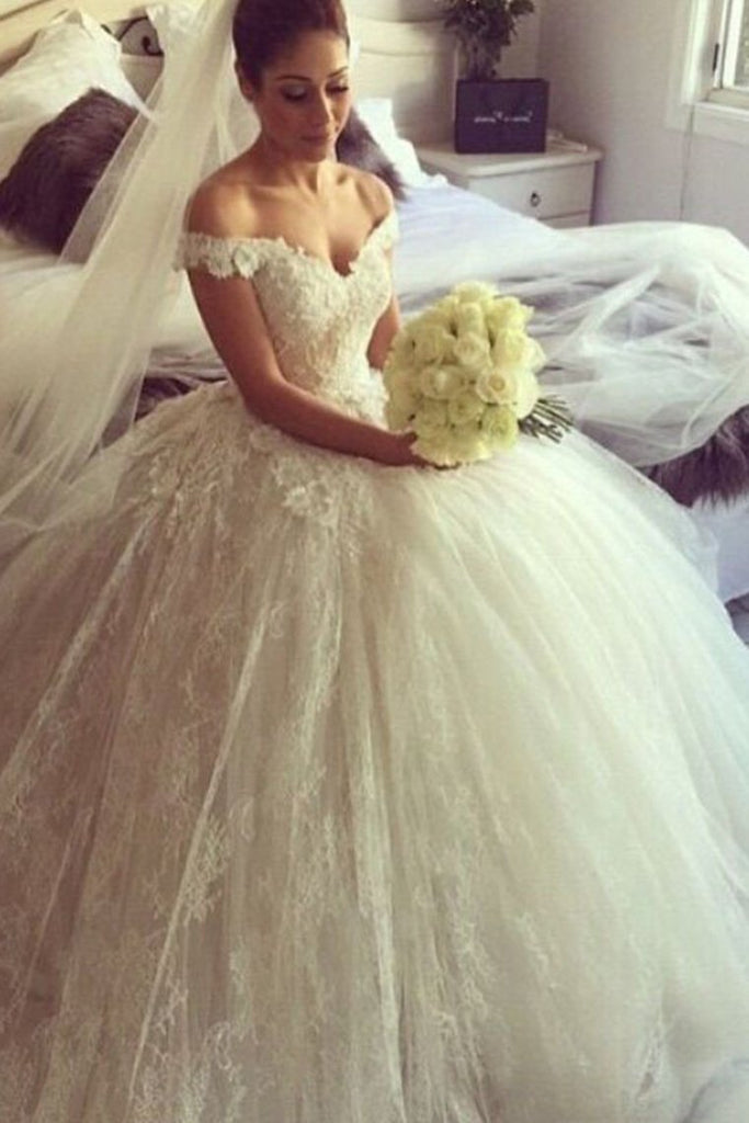 2019 Tulle & Lace Off The Shoulder Wedding Dresses Ball Gown With Applique