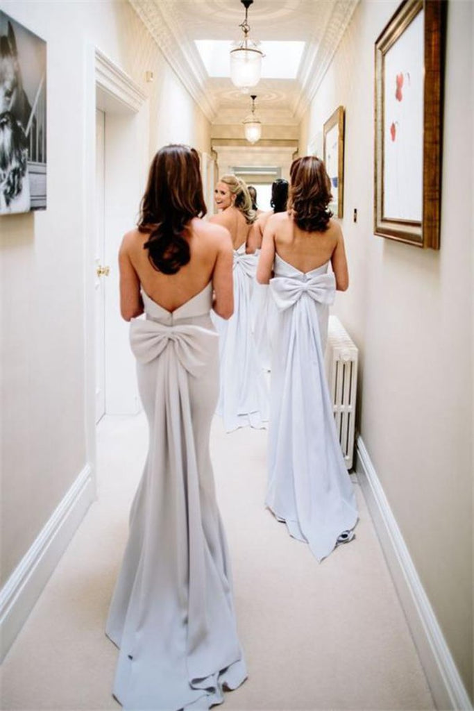 Charming Long Mermaid Light Sky Blue Strapless Elegant Bridesmaid Dresses With Bowknot