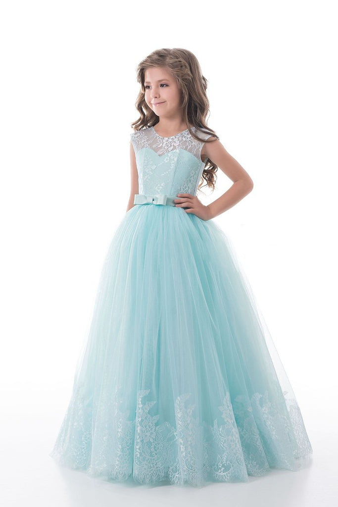 2019 Scoop With Applique And Sash Tulle A Line Floor Length Flower Girl Dresses