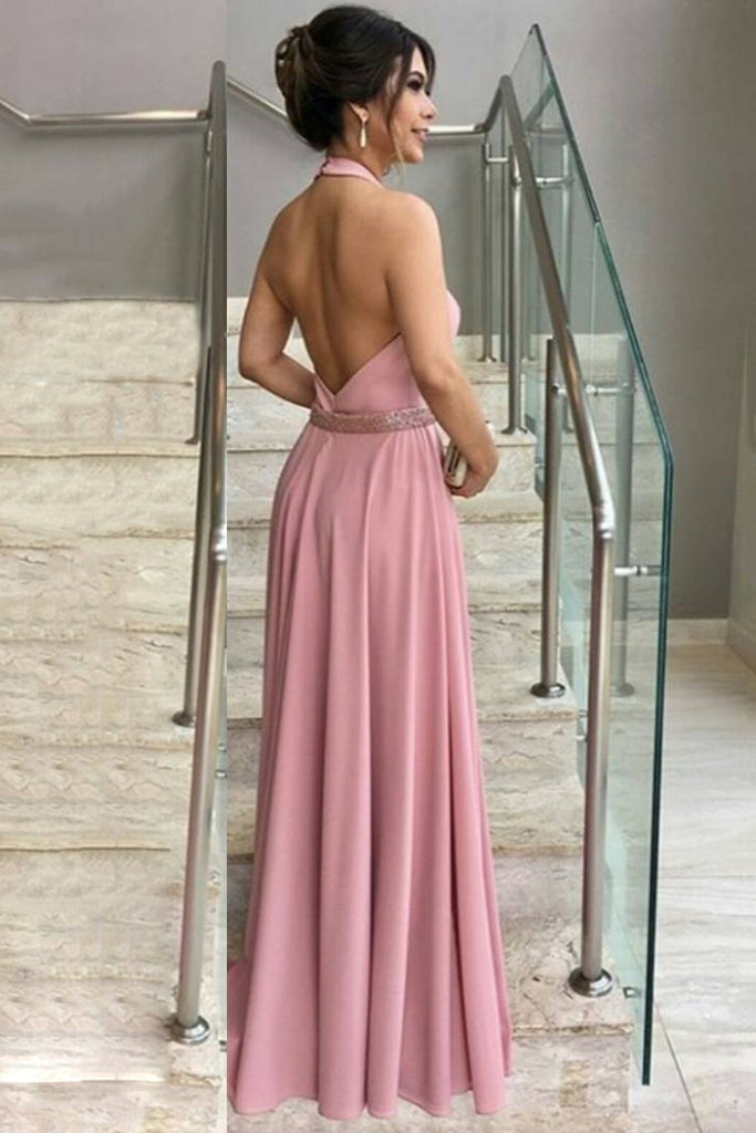 2020 A Line Halter Prom Dresses With Beads Waistline Elastic Satin