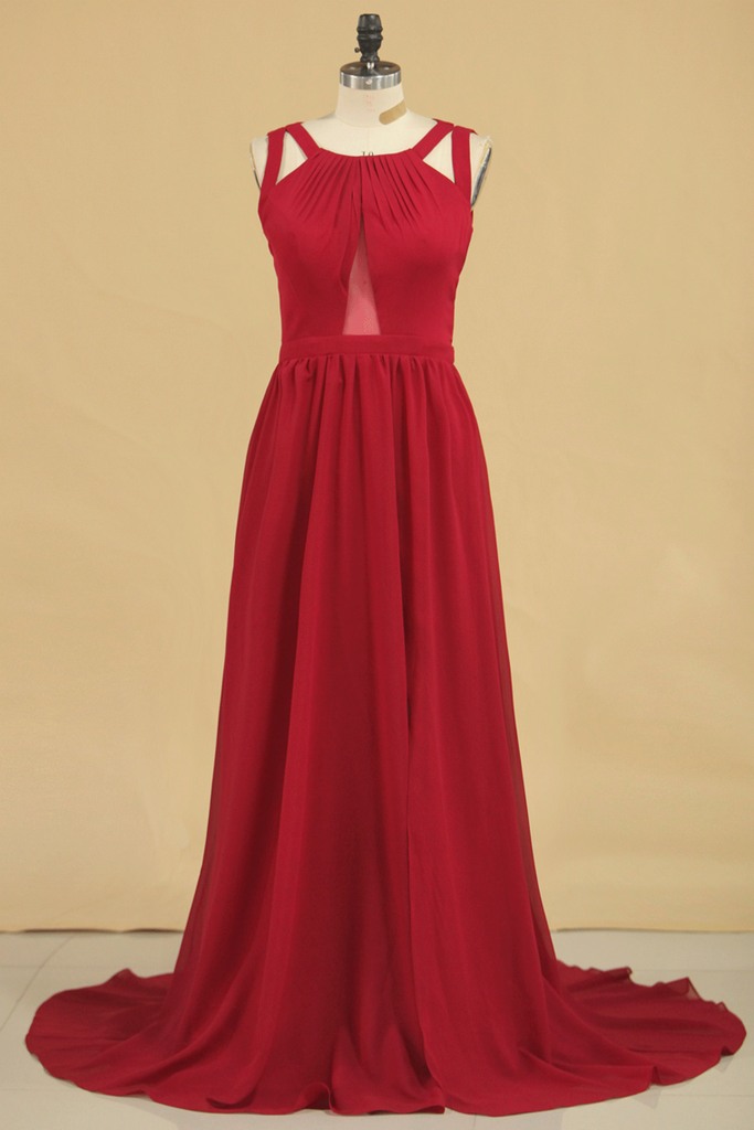 2019 A Line Scoop Chiffon Bridesmaid Dresses Burgundy/Maroon Sweep Train