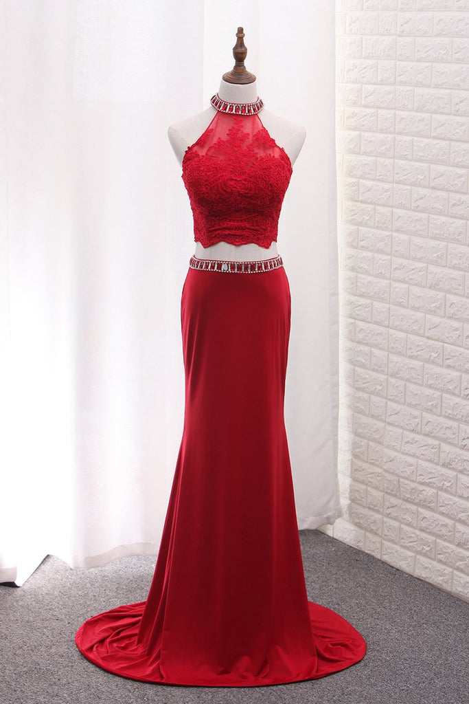 2019 Two Pieces High Neck Spandex Prom Dresses With Applique And Beads Sweep Train