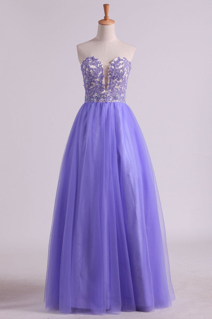 2019 Sweetheart A Line Tulle Prom Dresses With Applique And Beads