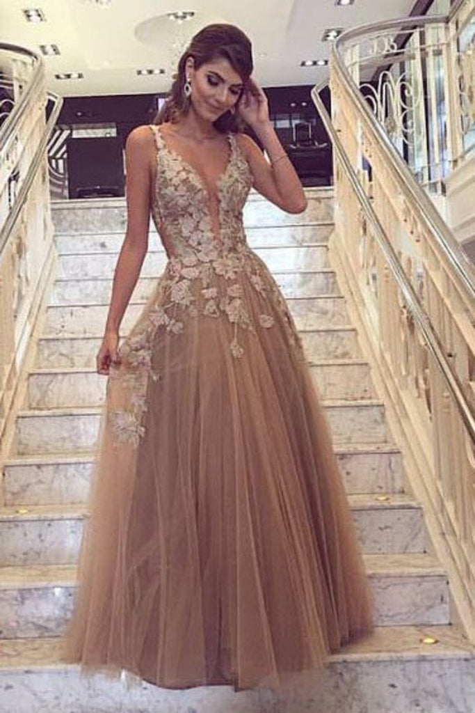 A Line Straps With Applique Prom Dresses Tulle Sweep Train