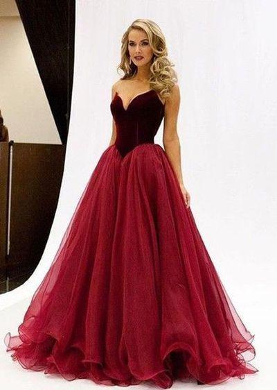Charming V-Neck A-Line Organza Backless Strapless Noble Long Red Fashion Prom Dresses WK44