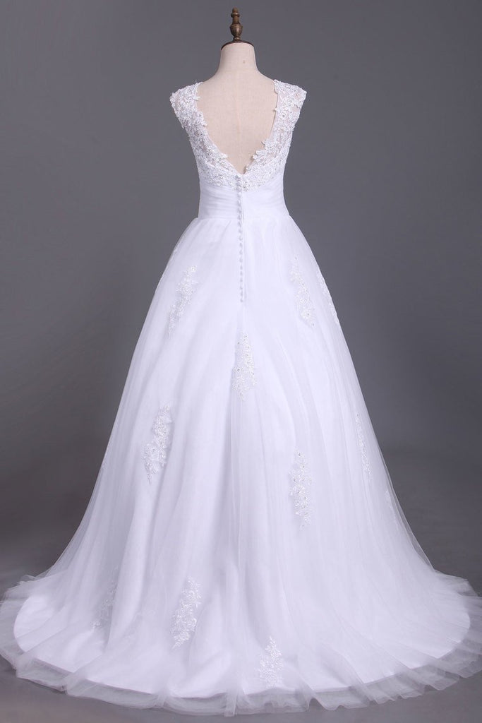 2019 Wedding Dresses A Line Open Back Scoop Tulle With Applique And Beads