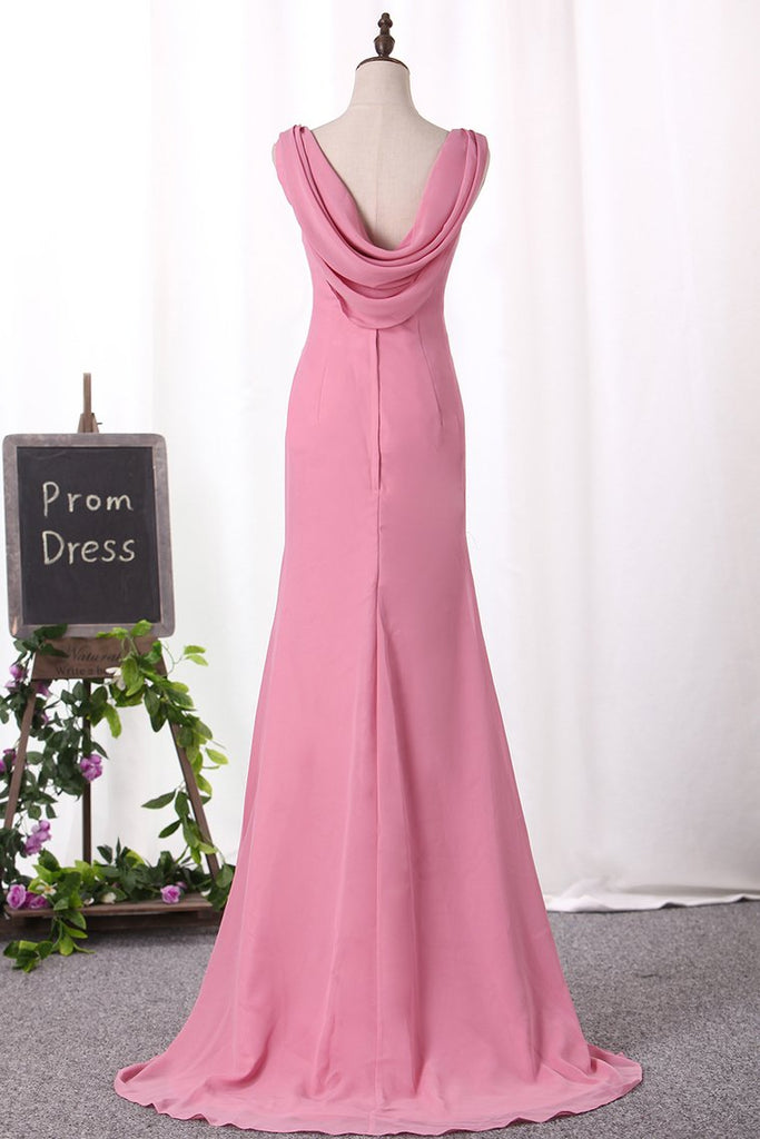 Sexy Open Back Bridesmaid Dresses V Neck Chiffon Mermaid Sweep Train