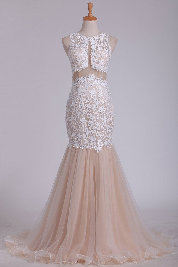 2019 Tulle Scoop With Applique Mermaid Evening Dresses Open Back