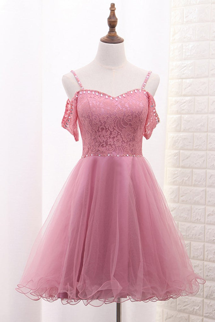 Spaghetti Straps A Line Tulle & Lace With Beads Homecoming Dresses