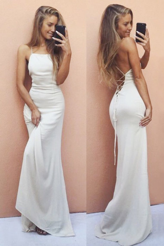 2019 Mermaid Spaghetti Straps Open Back Chiffon Lace Up Evening Dresses