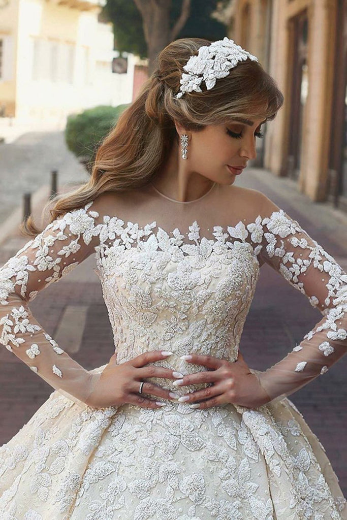 Gorgeous Beautiful Modest Lace Ball Gown Long Sleeves Wedding Dresses