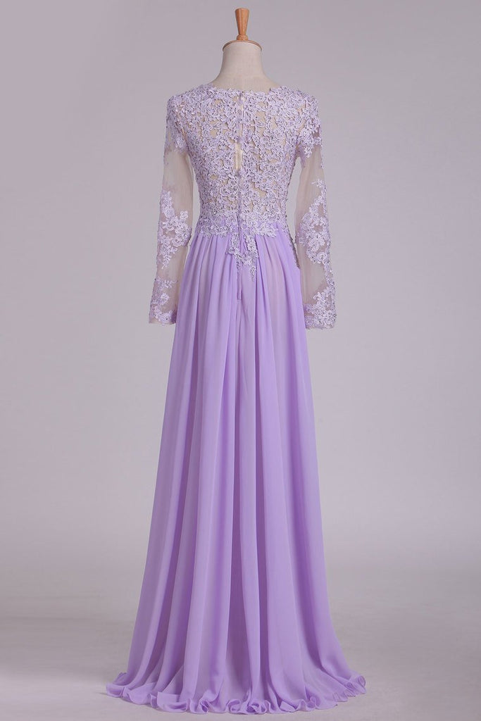 2019 Scoop Long Sleeves Prom Dresses With Applique And Beads A Line Chiffon