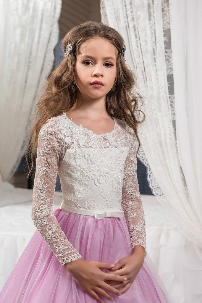 Scoop Flower Girl Dresses Long Sleeves Tulle With Applique And Sash A Line