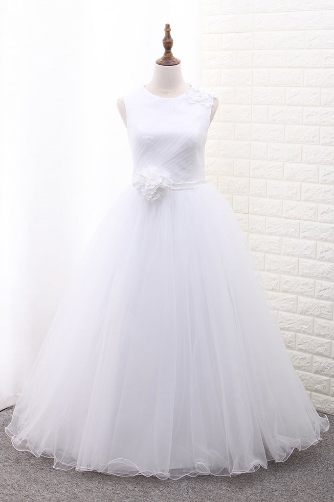 A Line Scoop Flower Girl Dresses Tulle With Handmade Flower Ankle Length