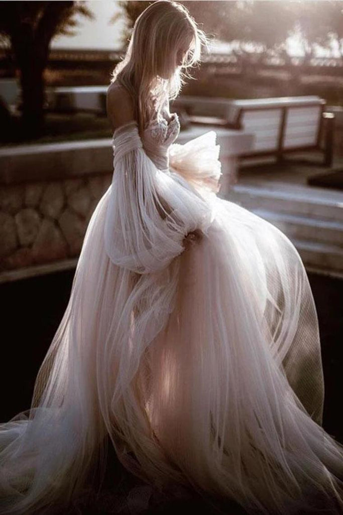 Buy Princess Long Puff Sleeves Off The Shoulder Tulle Wedding