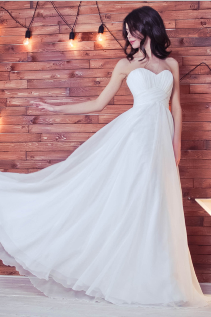 Simple Sweetheart Long A-Line Ivory Flowy Chiffon Beach Wedding Dresses