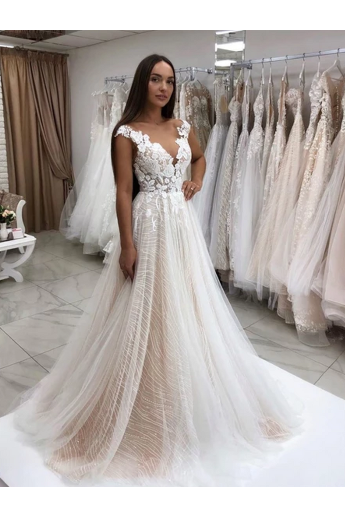 Timeless Lace Sparkly Sequins Tulle A-Line Wedding Dress With Appliques  Wedding Gown