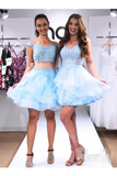 Two Pieces Beadings Homecoming Dress Off The Shoulder Appliques Organza Short Dresses