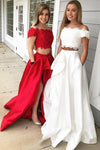 A-Line Princess Off-the-Shoulder Sleeveless Brush Train Lace Satin Two Piece Prom Dresses WK562