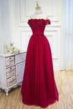 A-line Tulle Burgundy Short Sleeve Off-the-Shoulder Scoop Hand-Made Flower Prom Dresses WK776