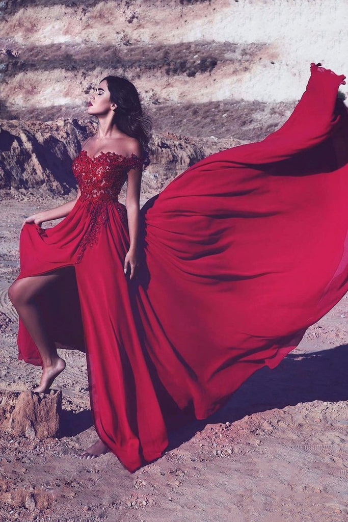 2019 Red Slit Off The Shoulder Prom Dresses A Line Chiffon With Applique And Beads