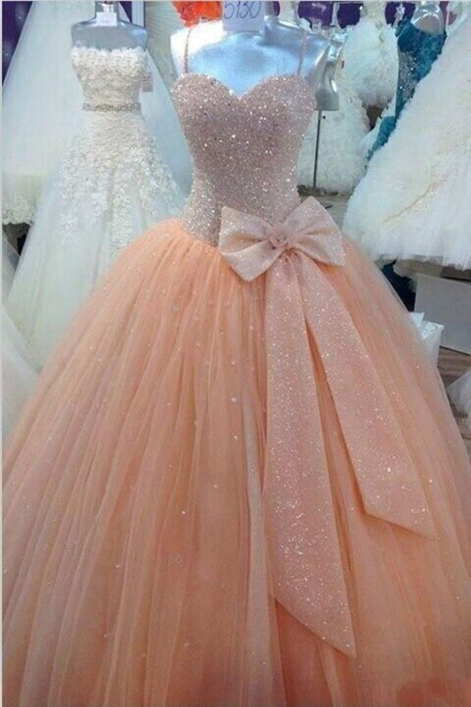 2019 New Arrival Quinceanera Dresses Ball Gown Spaghetti Straps Tulle With Beads