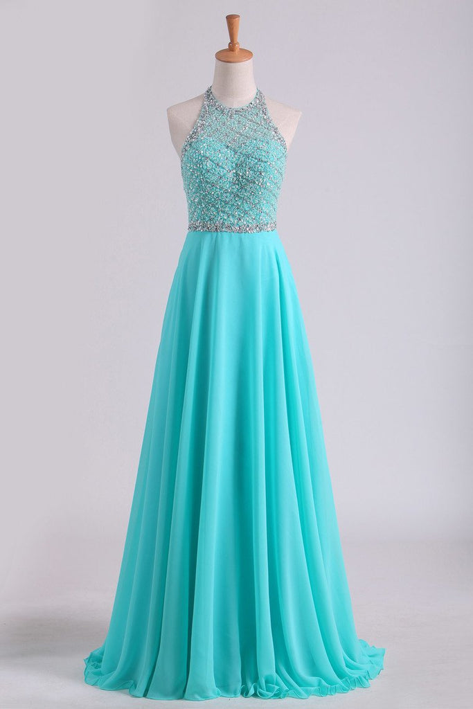 Open Back A Line Prom Dresses Halter Beaded Bodice Sweep Train Chiffon & Tulle