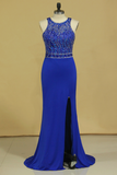 2019 Dark Royal Blue Open Back Prom Dresses Scoop Spandex With Beading And Slit Sweep Train