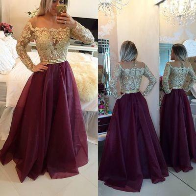 Burgundy Princess Lace Bodice Long Sleeves A-Line Organza Dark Red Evening Dresses WK14