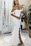 Off the Shoulder White Sweetheart Lace Sexy Mermaid Open Back Beach Wedding Dresses WK725