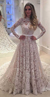 A-Line Backless Bowknot Scalloped Ivory Long Sleeve Backless Lace Wedding Dresses WK330