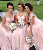 A-Line Pink Princess Cap Sleeves Sweetheart Floor-Length Beads Chiffon Bridesmaid Dresses WK509
