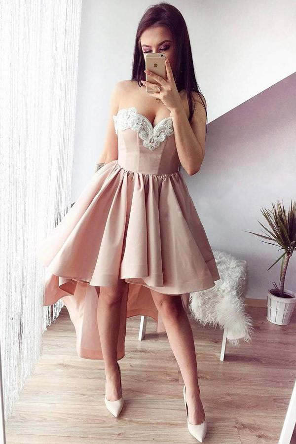 A-Line Sweetheart High Low Pink Stretch Satin Homecoming Dress with Appliques WK121