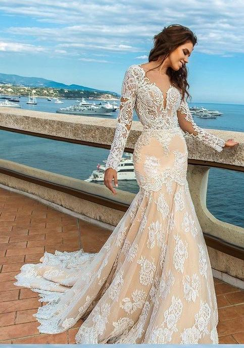 2020 White Lace Mermaid Deep V-Neck Backless Long Sleeve Wedding Dresses WK835