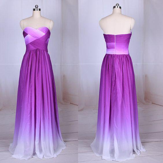 Simple Purple Strapless Sweetheart A-Line Chiffon Ombre Backless Prom Dresses WK364