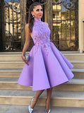 A-Line High Neck Tea-Length Sleeveless Purple Satin Homecoming Dress with Appliques WK119